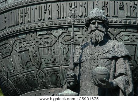 Russian czar Ivan III. Detail of the Monument to the Millennium of Russia from 1864 in Veliky Novgorod, Russia