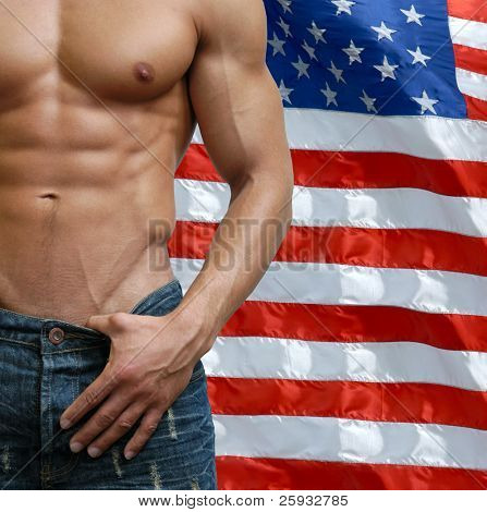 Muscular male torso with US flag behind