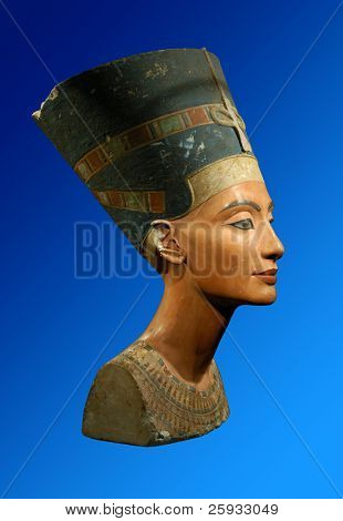Famous bust of Queen Nefertiti on the dark blue background