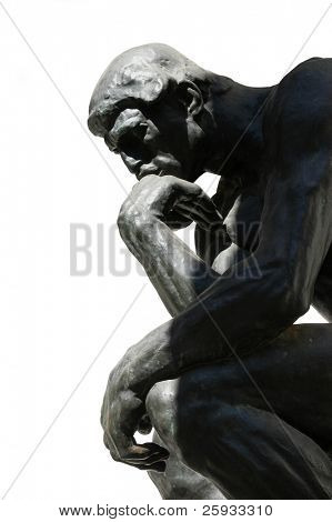 The Thinker, famous statue by Auguste Rodin, isolated on white