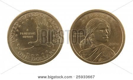 US Sacagawea dollar coin isolated on white â?? obverse and reverse