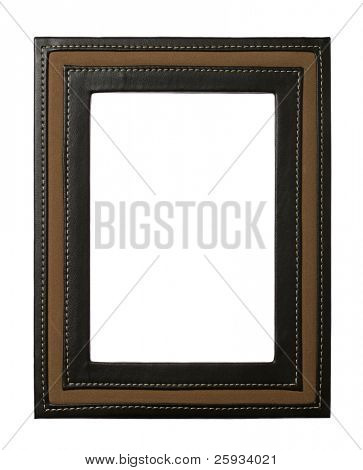 Leather frame isolated on white