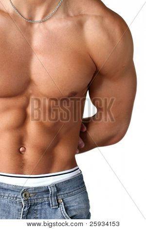 Sexy muscular torso isolated on white