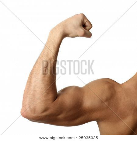 Flexing biceps isolated on white