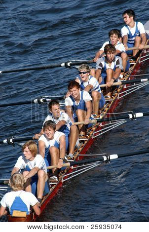 PRAGUE - JUNE 6: A junior rowing team in action during a boat-race in Prague, Czech Republic, on June 6, 2008