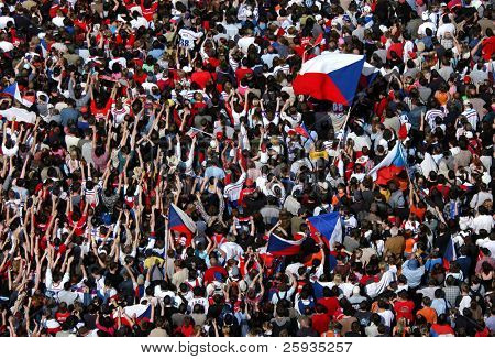 PRAGUE - May 25: Huge crowd celebrating a victory of the Czech ice hockey team in Prague, Czech Republic on May 25, 2009
