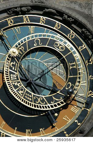 Famous medieval astronomical clock in Prague, Czech Republic