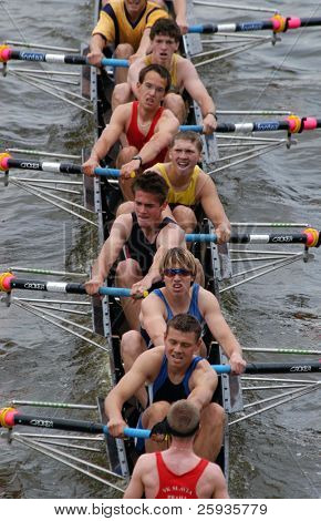 PRAGUE - JUNE 6: Junior rowing team rowing ahead during a traditional annual boat-race in Prague, Czech Republic, on June 6, 2010