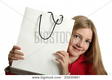 Pretty blond girl with copy space sopping bag isolated on white