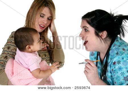Adorable Baby Girl Getting Healthcare Check-Up.