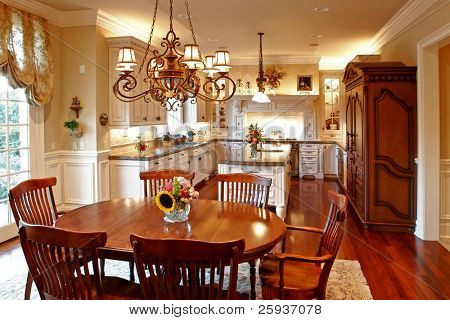 Luxury american kitchen with granite counters.