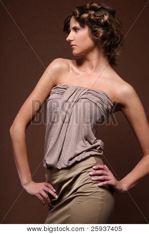 fashion portrait of beautiful young blonde girl.