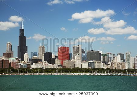 Chicago daytime skyline view from the lake Michigan.