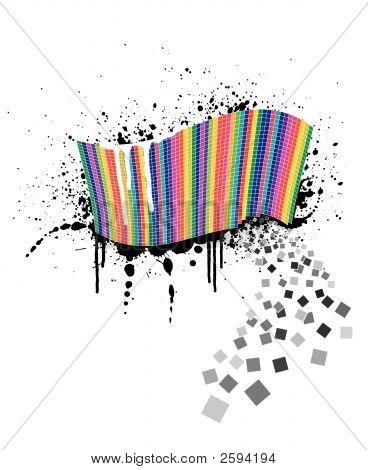 Rainbow Wave Full Of Colorful Squares On An Ink Splatter Design