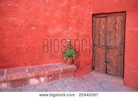 Vintage red wall with old decorative wood door.