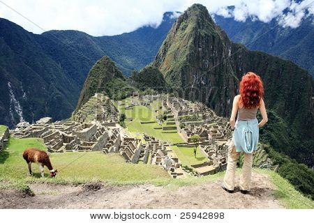 Tourismus am historischen verlorene Stadt Machu Picchu peru