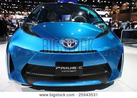 CHICAGO - FEBRUARY 15: The Toyota Prius-C presentation at the Annual Chicago Auto Show on February 15, 2011 in Chicago, IL.
