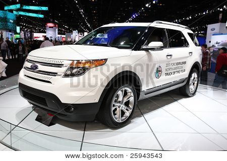 CHICAGO - FEBRUARY 15: The  Ford Explorer concept car presentation at the Annual Chicago Auto Show on February 15, 2011 in Chicago, IL.