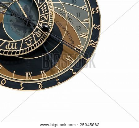 Isolated quarter of Astronomical clock in Prague in the Czech republic