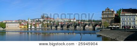 Prague castle and Charles bridge across Vltava river
