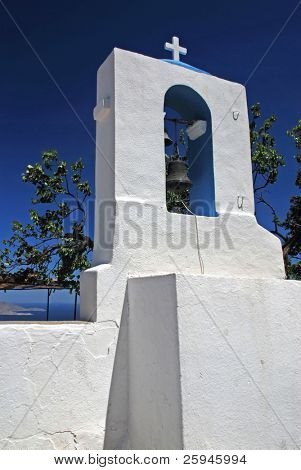 Belfry of the church in Zia - mountain village on Greek island Kos