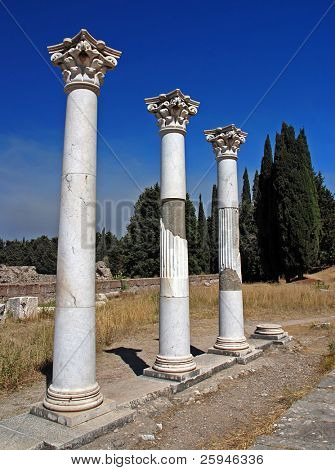 Ancient ruins - pillars on a Greek island Kos