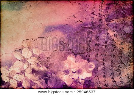 Grunge background of Far Eastern looks - with cherry blooms, Chinese script and grungy textures