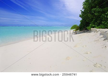 Beautiful maldivian beach with green bush and deck-chair