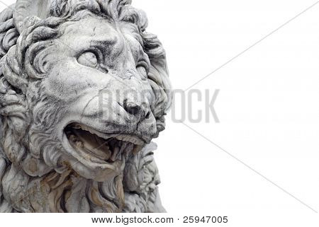 Detail of a famous lion statue  in Florence, Italy isolated on white