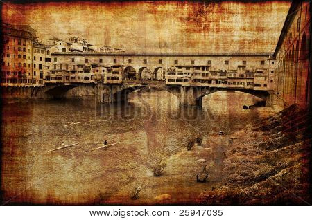 Memories of the oldest bridge in Florence Ponte Vecchio. Grunge style photo.