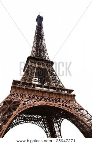 Famous Eiffel Tower of Paris isolated on white