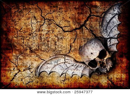 White flying skull on a grungy cracked background (in warm tones)