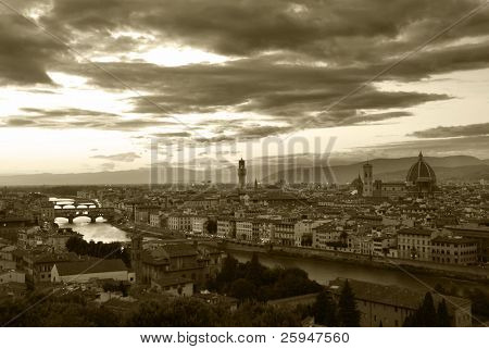 Sunset over river Arno in Florence, Italy, monochrome - sepia
