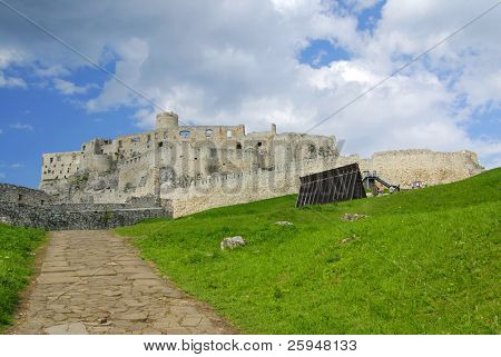 Ancient Slovak castle Spissky hrad and a path