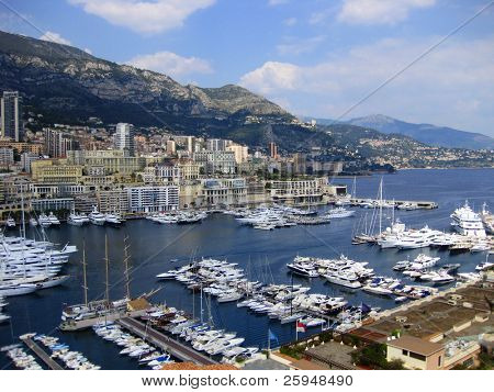 View at Monaco bay with a port and cityscape
