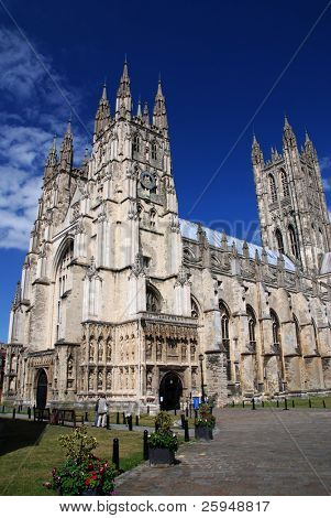 Famous Canterbury cathedral against the blue sky