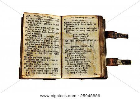 sehr altes offenes Buch aus dem 18. Jahrhundert, isoliert auf weiss.