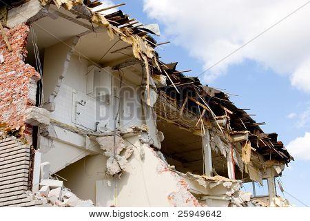 A half-way demolished building