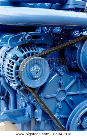 Brand new marine diesel engine from a boat.
