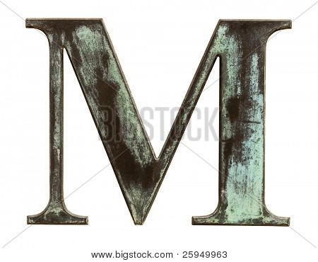Metallic letter M isolated on white