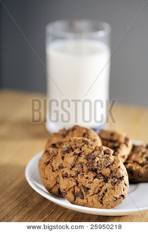 Chocolate chip cookies with a glass of milk. Short depth-of-field