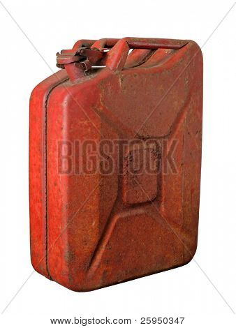 Red rusty jerrycan isolated on white
