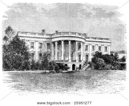 White house in Washington. Illustration originally published in Ernst von Hesse-Wartegg's
