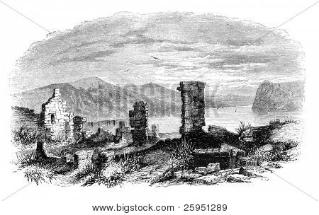 "Ruins of Ticonderoga at lake Champlain. Illustration originally published in Hesse-Wartegg's ""Nord Amerika"", swedish edition published in 1880."