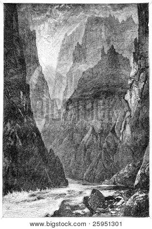 Grand Canyon, Colorado. Illustration originally published in Hesse-Wartegg's
