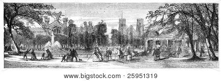 """Washington Square, Nueva York. Ilustración publicado originalmente en """"Nord Amerika"""" de Hesse-Wartegg, sw"""
