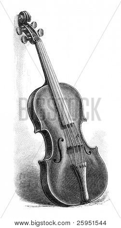 Vintage engraved illustration of a Stradivarius violin.