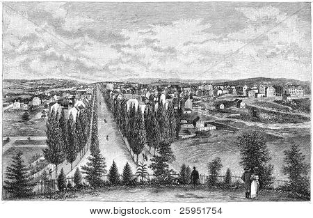 Washington DC in 1800. Engraving image by unknown artist from Harper's Monthly Magazine march 1884.
