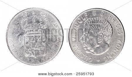 """Swedish 1 Krona aka """"Crown"""" coin from 1969 with King Gustaf VI Adolf of Sweden."""