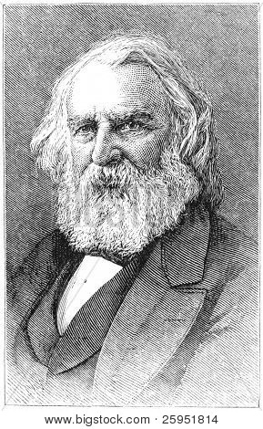 Henry Wadsworth Longfellow (1807-1882), American poet and educator. Engraving from Harper's Monthly Magazine, january 1876.